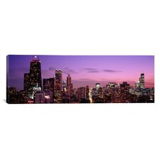 Panoramic Buildings Lit Up at Dusk, Chicago, Illinois, Photographic Print on Canvas