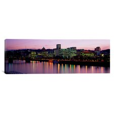 Panoramic Buildings Lit up at Night Portland, Oregon Photographic Print on Canvas
