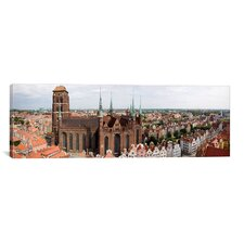 Panoramic Cathedral in a City, St. Mary's Church, Gdansk, Pomeranian Voivodeship, Poland Photographic Print on Canvas