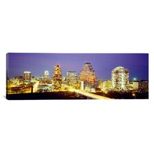 Panoramic Buildings Lit up at Dusk, Austin, Texas Photographic Print on Canvas