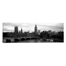 Panoramic Westminster Bridge, Houses of Parliament, City of Westminster, London, England Photographic Print on Canvas