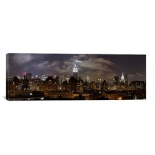 Panoramic Buildings Lit Up At Night, Empire State Building, Manhattan, New York City, New York State, 2009 Photographic Print on Canvas