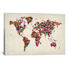 'Butterflies World Map II' by Michael Tompsett Painting Print on Canvas