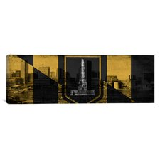 Baltimore Flag, Grunge Skyline Panoramic Graphic Art on Canvas