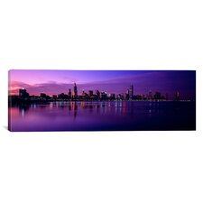 Panoramic Buildings at the Waterfront Lit up at Dusk, Lake Michigan, Chicago, Illinois Photographic Print on Canvas