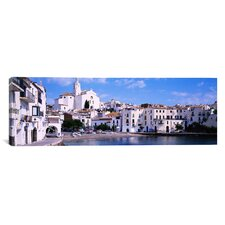 Panoramic Buildings on The Waterfront, Cadaques, Costa Brava, Spain Photographic Print on Canvas