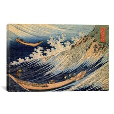 'Choshi in the Simosa Province from Oceans of Wisdom (Hokusai Ocean Waves)' by Katsushika Hokusai Painting Print on Canvas