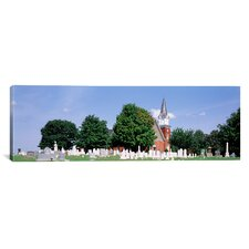 Panoramic Cemetery in front of a Church, Clynmalira Methodist Cemetery, Baltimore, Maryland Photographic Print on Canvas