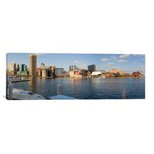 Panoramic Boats Moored at a Harbor, Inner Harbor, Baltimore, Maryland 2009 Photographic Print on Canvas