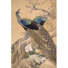 A Pair of Peacocks in Spring by Imao Keinen Painting Print on Canvas