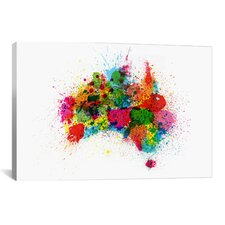 'Australia Paint Splashes Map' by Michael Thompsett Graphic Art on Canvas