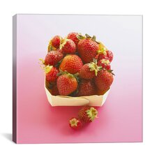 Basket of Strawberries Photographic Canvas Wall Art