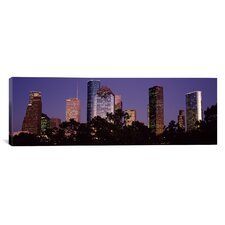Panoramic Buildings in a City Lit Up at Dusk, Houston, Harris county, Texas Photographic Print on Canvas
