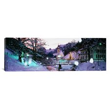 Panoramic Church on a Snow Covered Hill, Rothenburg, Bavaria, Germany Photographic Print on Canvas