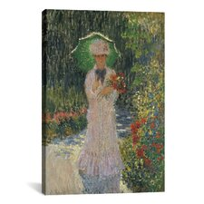 'Camille a L'ombrelle Verte 1876' by Claude Monet Painting Print on Canvas