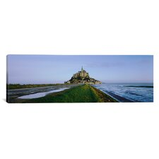 Panoramic Church on The Beach, Mont Saint-Michel, Normandy, France Photographic Print on Canvas