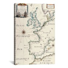 Antique West Europe Map Graphic Art on Canvas