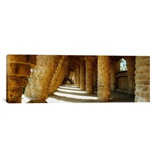 Panoramic Architectural Detail of Park Guell Designed by Catalan Architect Antonio Gaudi, Barcelona, Spain Photographic Print on Canvas