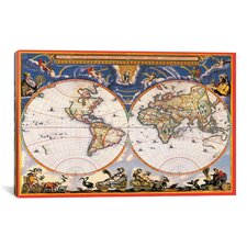 Antique World Map - Nova Et Accuratissima Totius Terrarum Orbis Tabula (Blaeu, Joan 1664) Graphic Art on Canvas
