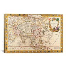 Antique Map of Asia Graphic Art on Canvas