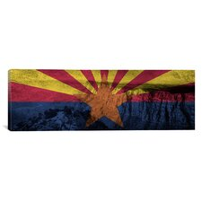 Arizona Flag, Grand Canyon Grunge Graphic Art on Canvas