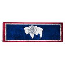 Wyoming Flag, Grunge Panoramic Graphic Art on Canvas