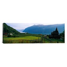 Panoramic Church in a Village Urnes Stave Church, Lustrafjorden, Luster, Sogn Og Fjordane, Norway Photographic Print on Canvas