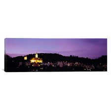 Panoramic Church Lit Up at Dusk in a Town, Horb Am Neckar, Black Forest, Baden-Wurttemberg, Germany Photographic Print on Canvas