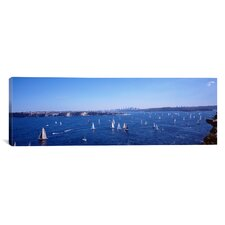Panoramic Yachts in the Bay, Sydney Harbor, Sydney, New South Wales, Australia Photographic Print on Canvas