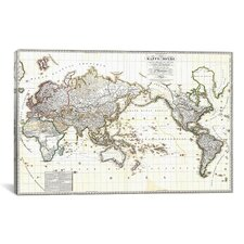 Antique French Map of The World (1816) Graphic Art on Canvas