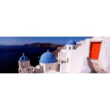 Panoramic Church in a City, Santorini, Cyclades Islands, Greece Photographic Print on Canvas