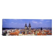 Panoramic Church in a City, Tyn Church, Prague Old Town Square, Prague, Czech Republic Photographic Print on Canvas