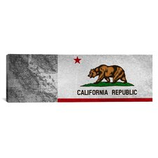 Caifornia Flag, Grunge Panoramic Graphic Art on Canvas
