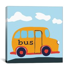 "Decorative Art ""Yellow School Bus"" Canvas Wall Art"