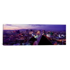 Panoramic City Lit Up at Dusk, Las Vegas, Clark County, Nevada Photographic Print on Canvas