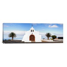 Panoramic Chapel on a Hill, Tiagua, Lanzarote, Canary Islands, Spain Photographic Print on Canvas