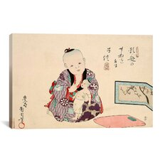 Child Playing with Doll Japanese Woodblock Graphic Art on Canvas