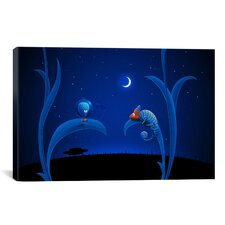 Kids Children Alien and Chameleon Canvas Wall Art
