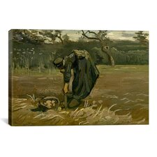 'Aardappelrooister (Peasant Woman, Harvesting Potatoes)' by Vincent van Gogh Painting Print on Canvas