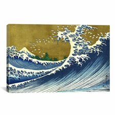 'A Colored Version of The Big Wave' by Katsushika Hokusai Painting Print on Canvas