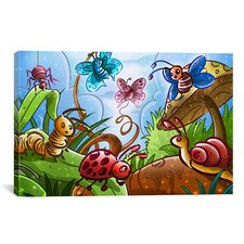 Kids Children Cartoon Bugs Canvas Wall Art
