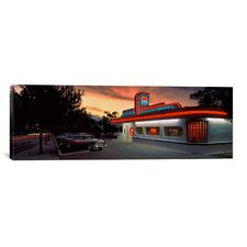 Panoramic Cars Parked outside a Restaurant, Route 66, Albuquerque, New Mexico Photographic Print on Canvas