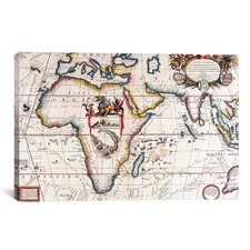 Antique Asia and Africa Map Graphic Art on Canvas