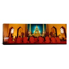 Panoramic Monks, Benchamapophit Wat, Bangkok, Thailand Photographic Print on Canvas