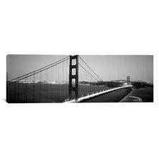 Panoramic Bridge Lit up at Night, Golden Gate Bridge, San Francisco, California Photographic Print on Canvas