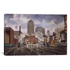 '20Th Century Ltd, Leaving Chicago' by Stanton Manolakas Painting Print on Canvas