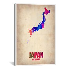 "Naxart ""Japan Watercolor Map"" Graphic Art on Canvas"