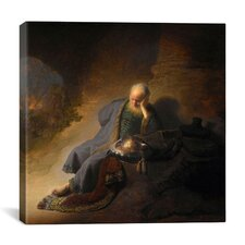 """Jeremiah Lamenting The Destruction of Jerusalem"" Canvas Wall Art by Rembrandt"