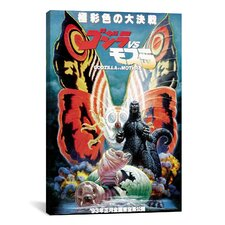 Godzilla Vs. Mothra Vintage Movie Poster Canvas Print Wall Art