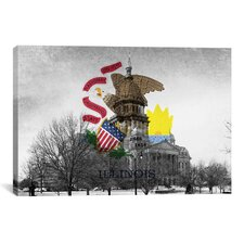 Illinois Flag, Capitol Building Graphic Art on Canvas
